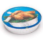 Tapa de cartón para envase de aluminio pollo redondo