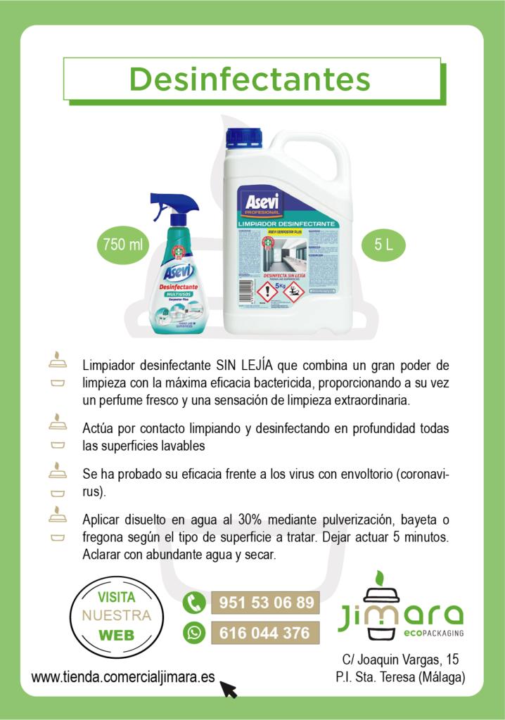 desinfectantes Asevi frente al Coronavirus Jimara Packaging