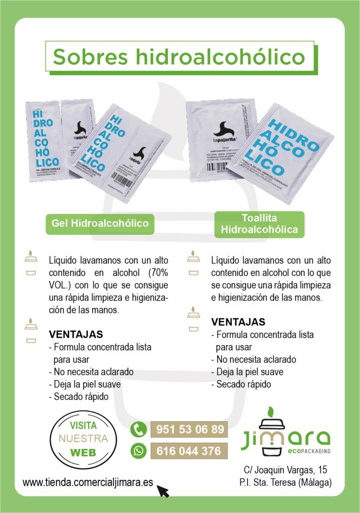 sobres y toallitas hidroalcohólicos Coronavirus Jimara Packaging